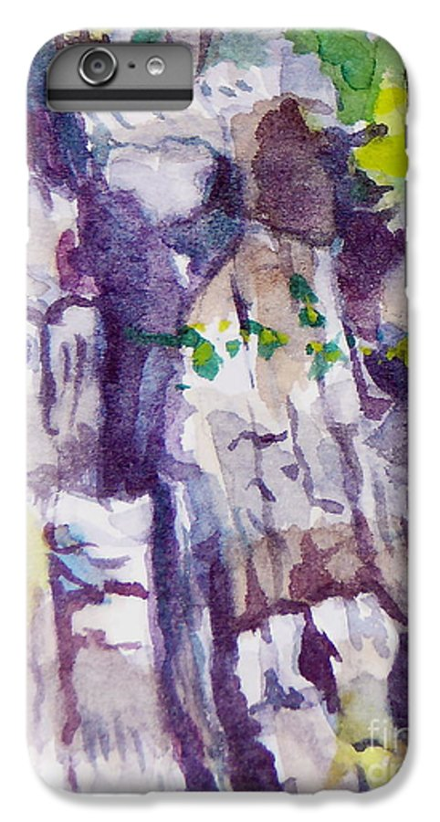 Purple IPhone 6 Plus Case featuring the painting The Little Climbing Wall by Jan Bennicoff