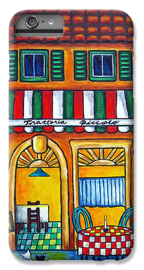Blue IPhone 6 Plus Case featuring the painting The Little Trattoria by Lisa Lorenz