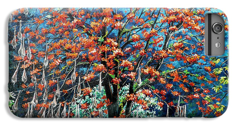 Tree Painting Mountain Painting Floral Painting Caribbean Painting Original Painting Of Immortelle Tree Painting  With Nesting Corn Oropendula Birds Painting In Northern Mountains Of Trinidad And Tobago Painting IPhone 6 Plus Case featuring the painting The Mighty Immortelle by Karin Dawn Kelshall- Best