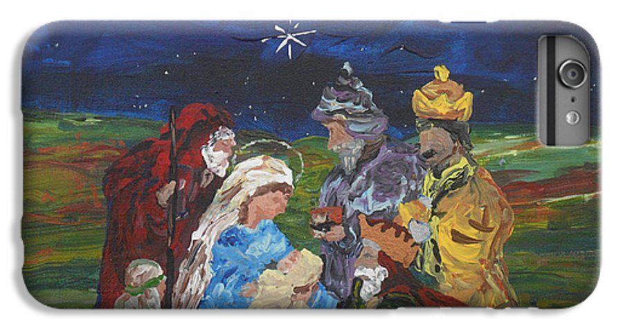 Nativity IPhone 6 Plus Case featuring the painting The Nativity by Reina Resto