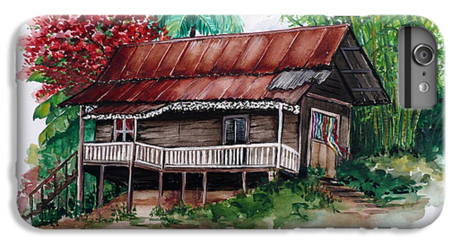 Tropical Painting Poincianna Painting Caribbean Painting Old House Painting Cocoa House Painting Trinidad And Tobago Painting  Tropical Painting Flamboyant Painting Poinciana Red Greeting Card Painting IPhone 6 Plus Case featuring the painting The Old Cocoa House by Karin Dawn Kelshall- Best