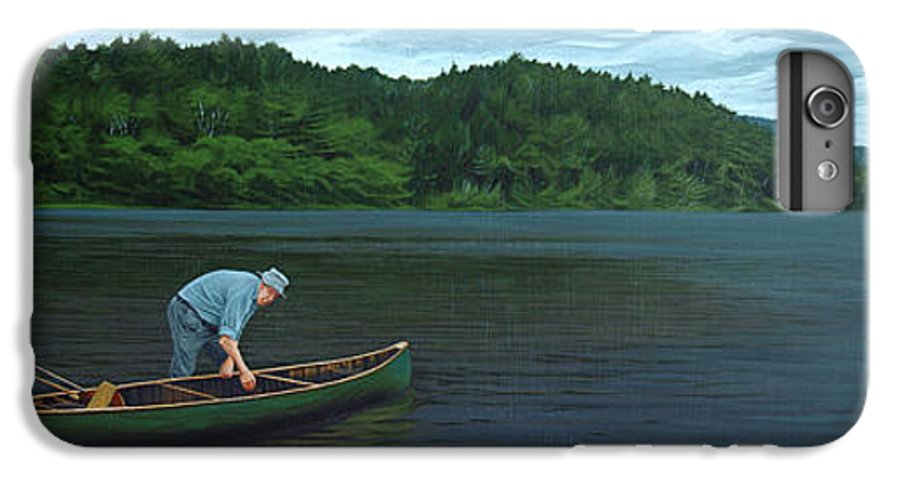 Landscape IPhone 6 Plus Case featuring the painting The Old Green Canoe by Jan Lyons