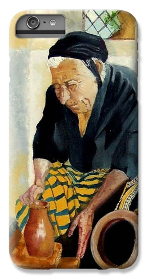 Old People IPhone 6 Plus Case featuring the painting The Old Potter by Jane Simpson