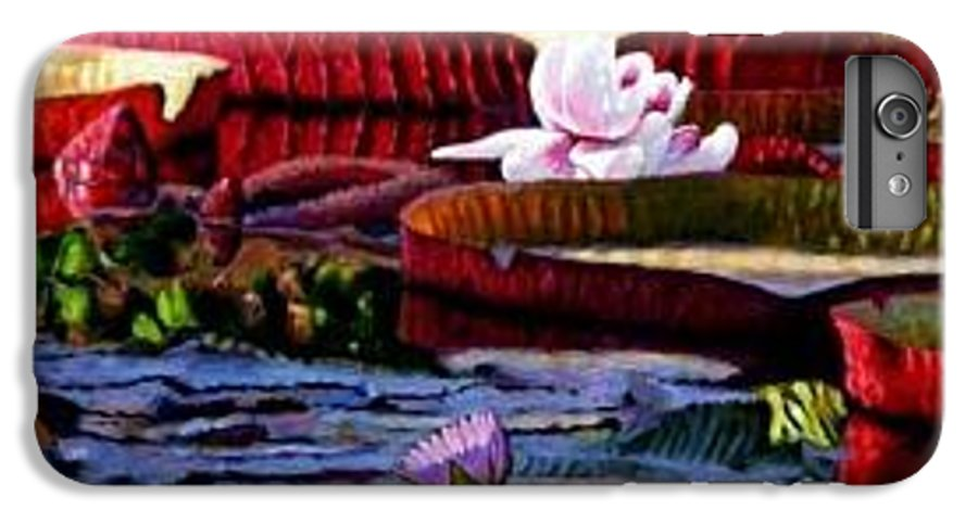 Shadows And Sunlight Across Water Lilies. IPhone 6 Plus Case featuring the painting The Patterns Of Beauty by John Lautermilch