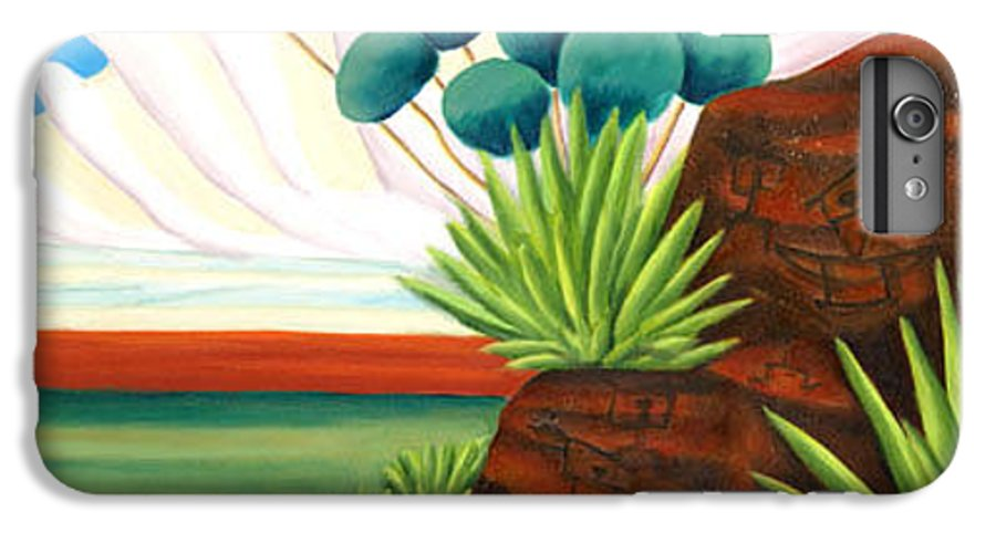 Landscape IPhone 6 Plus Case featuring the painting The Petroglyphs by Lynn Soehner