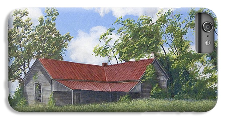 Landscape IPhone 6 Plus Case featuring the painting The Red Roof by Peter Muzyka