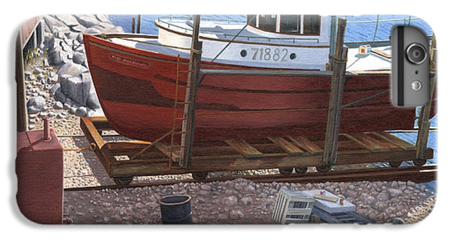 Fishing Boat IPhone 6 Plus Case featuring the painting The Red Troller by Gary Giacomelli