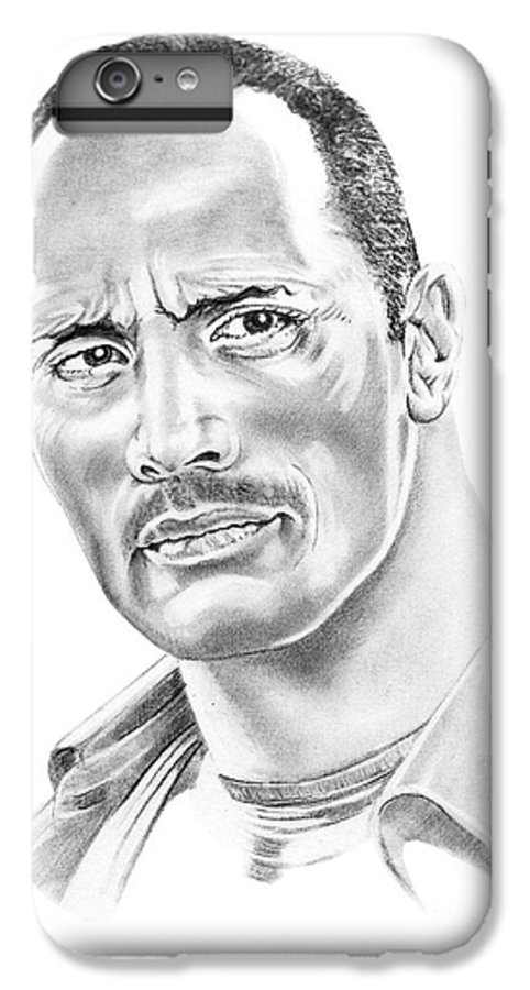 Pencil IPhone 6 Plus Case featuring the drawing The Roc  Dwain Johnson by Murphy Elliott