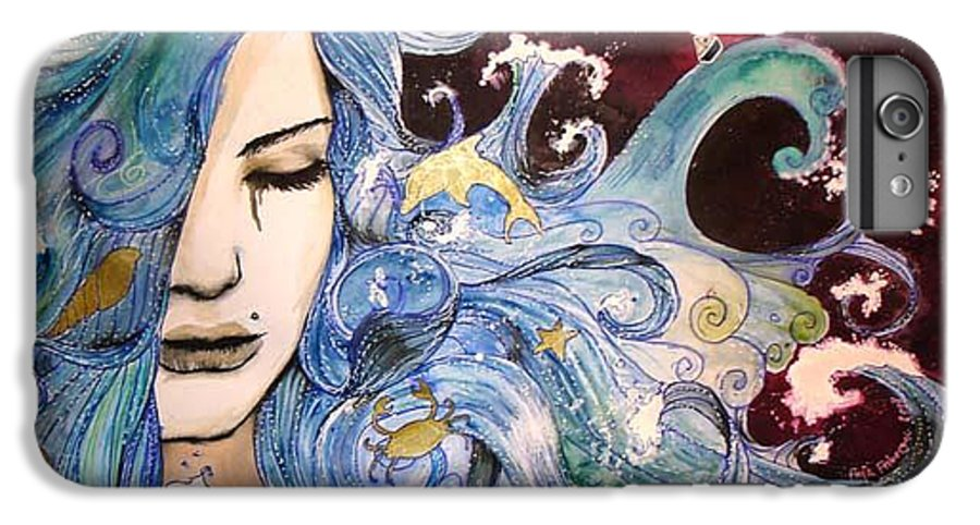 Sea Dolphin Tears Cry Boat Wave IPhone 6 Plus Case featuring the drawing The Sea Inside by Freja Friborg