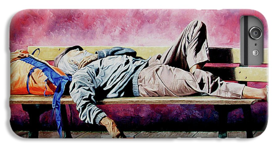Figurative IPhone 6 Plus Case featuring the painting The Traveler 1 - El Viajero 1 by Rezzan Erguvan-Onal