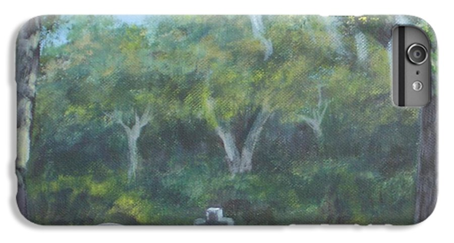 Landscape Cemetary Ghost Tree Florida Orlando Greenwood IPhone 6 Plus Case featuring the painting The Visitor 75usd by Karen Bowden