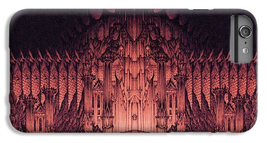 Barad Dur IPhone 6 Plus Case featuring the drawing The Walls Of Barad Dur by Curtiss Shaffer