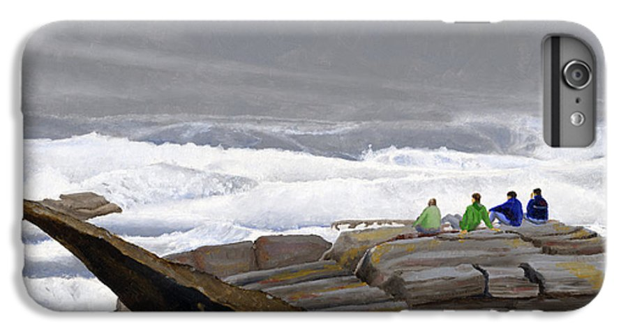 Waves IPhone 6 Plus Case featuring the painting The Wave Watchers by Dominic White