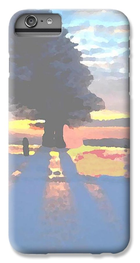 Sky.clouds.winter.sunset.snow.shadow.sunrays.evening Light.tree.far Forest. IPhone 6 Plus Case featuring the digital art The Winter Lonely Tree by Dr Loifer Vladimir