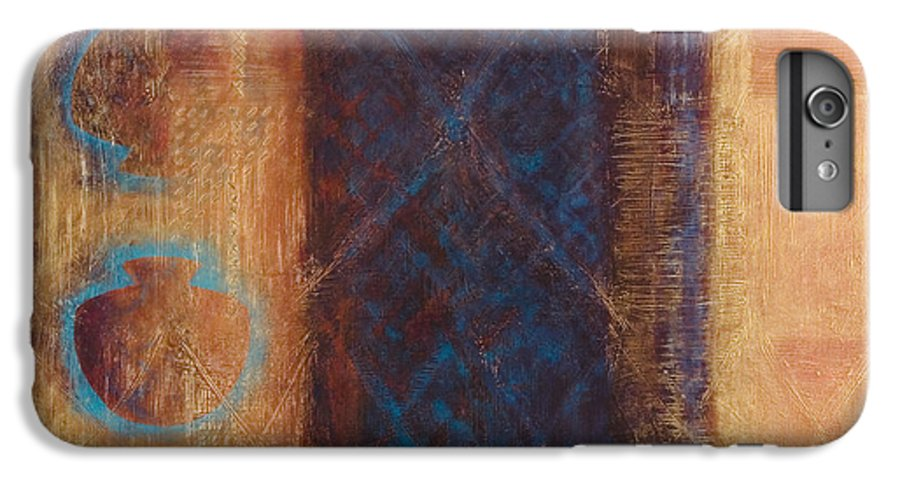 Abstract IPhone 6 Plus Case featuring the painting The X Factor Alchemy Of Consciousness by Kerryn Madsen-Pietsch