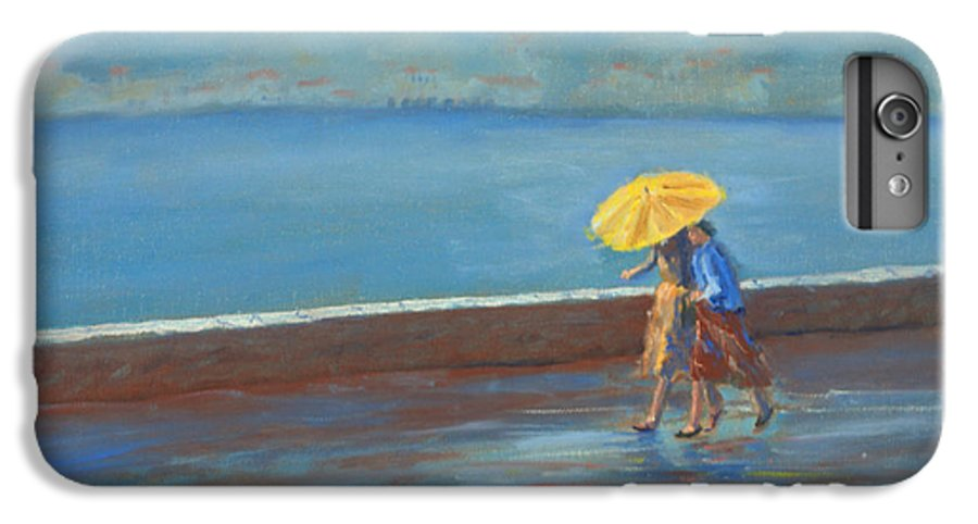 Rain IPhone 6 Plus Case featuring the painting The Yellow Umbrella by Jerry McElroy
