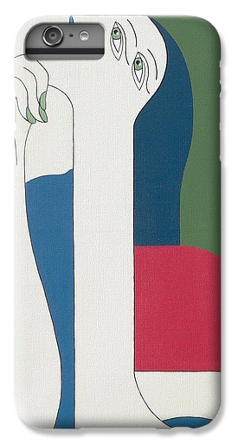 Modern Special Women Bleu Red Green IPhone 6 Plus Case featuring the painting Thinking by Hildegarde Handsaeme