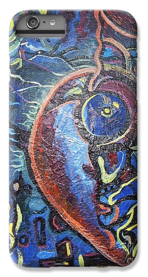 Abstract Contemporary Home Blue Oil Canvas Board IPhone 6 Plus Case featuring the painting Thinking Of Home by Seon-Jeong Kim