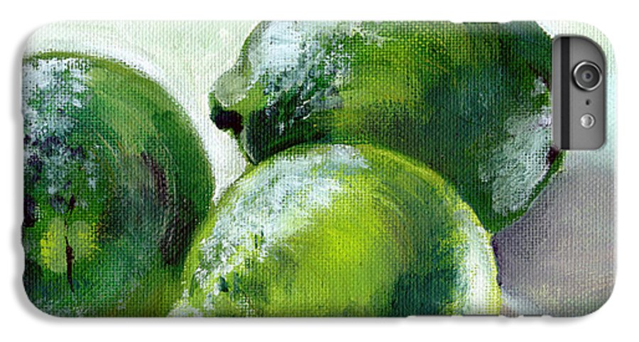 Food IPhone 6 Plus Case featuring the painting Three Limes by Sarah Lynch