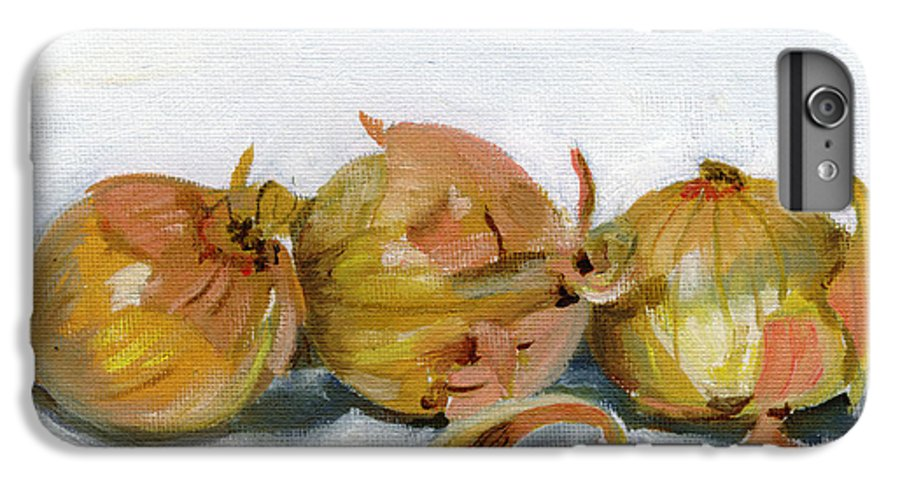 Food IPhone 6 Plus Case featuring the painting Three Onions by Sarah Lynch