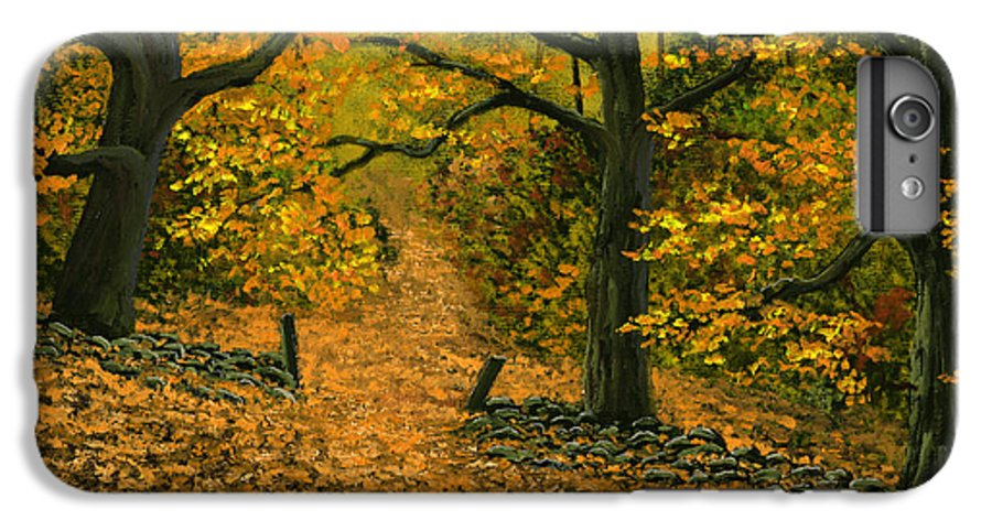 Landscape IPhone 6 Plus Case featuring the painting Through The Fallen Leaves by Frank Wilson
