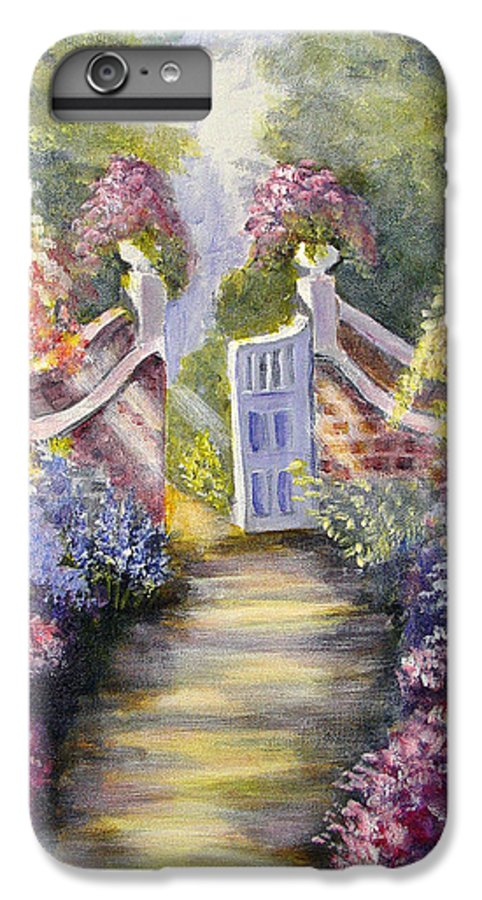 Flowers IPhone 6 Plus Case featuring the painting Through The Garden Gate by Quwatha Valentine