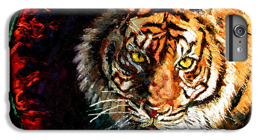 Tiger IPhone 6 Plus Case featuring the painting Through The Ring Of Fire by John Lautermilch