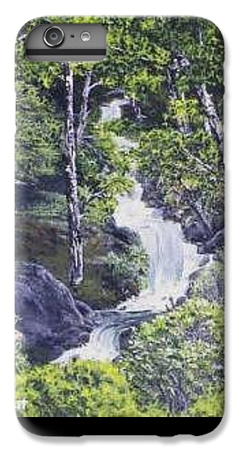 This Is A Lovely Waterfall We Saw On The Way Back Home From Mount Hood Oregon. IPhone 6 Plus Case featuring the painting Through The Woods by Darla Boljat