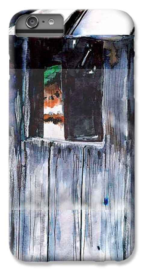 An Old Mysterious Barn With Deep Dark Shadows And Secrets. Rustic And Moody. IPhone 6 Plus Case featuring the drawing Thru The Barn Window by Seth Weaver