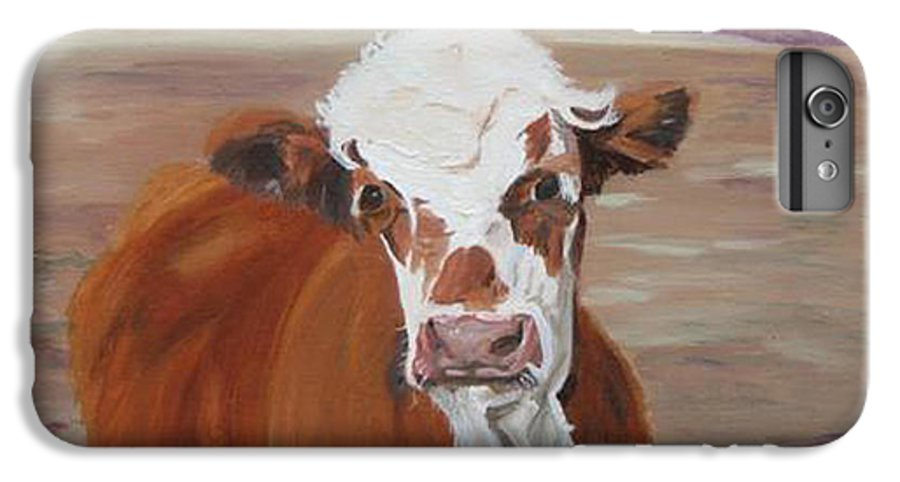 Cow Calf Farmscene IPhone 6 Plus Case featuring the painting Tiffany by Paula Emery