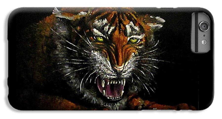 Animal IPhone 6 Plus Case featuring the painting Tiger-1 Original Oil Painting by Natalja Picugina