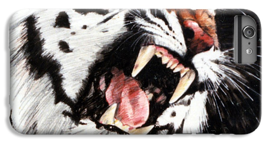 Tiger Roaring IPhone 6 Plus Case featuring the painting Tiger by John Lautermilch