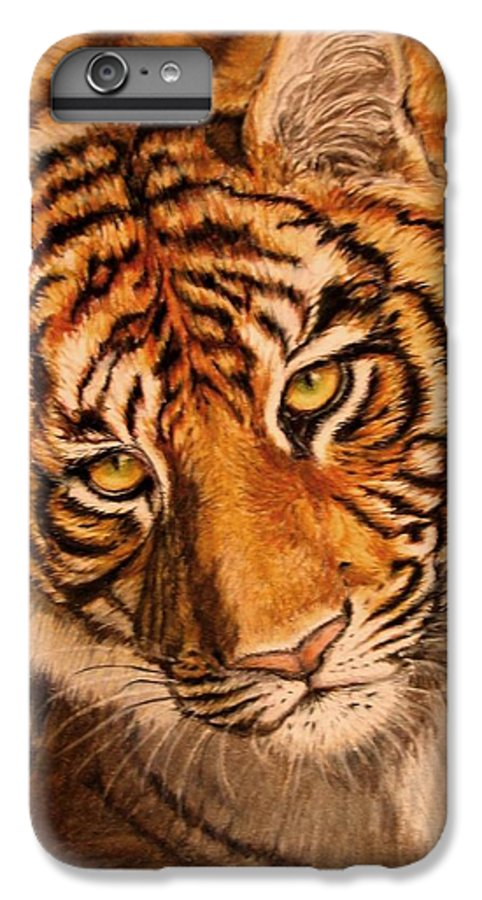 Tiger IPhone 6 Plus Case featuring the drawing Tiger by Karen Ilari