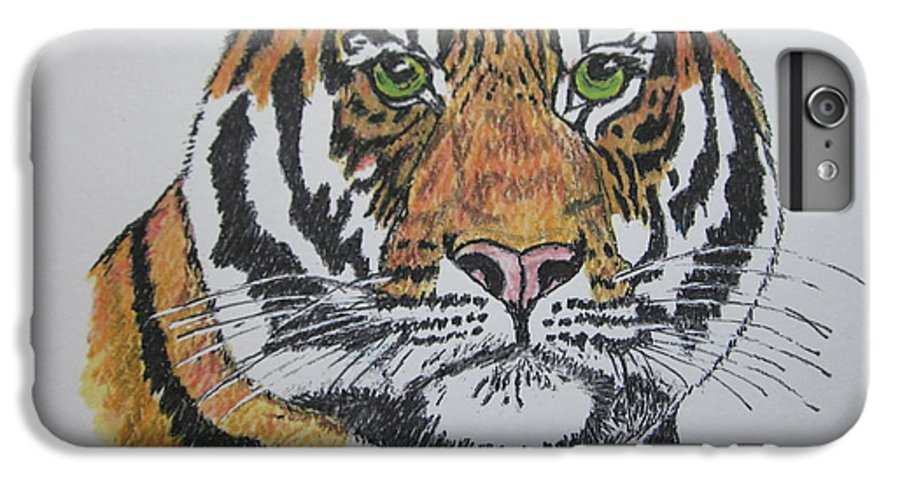 Bengal IPhone 6 Plus Case featuring the painting Tiger by Kathy Marrs Chandler