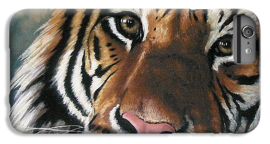 Tiger IPhone 6 Plus Case featuring the pastel Tigger by Barbara Keith