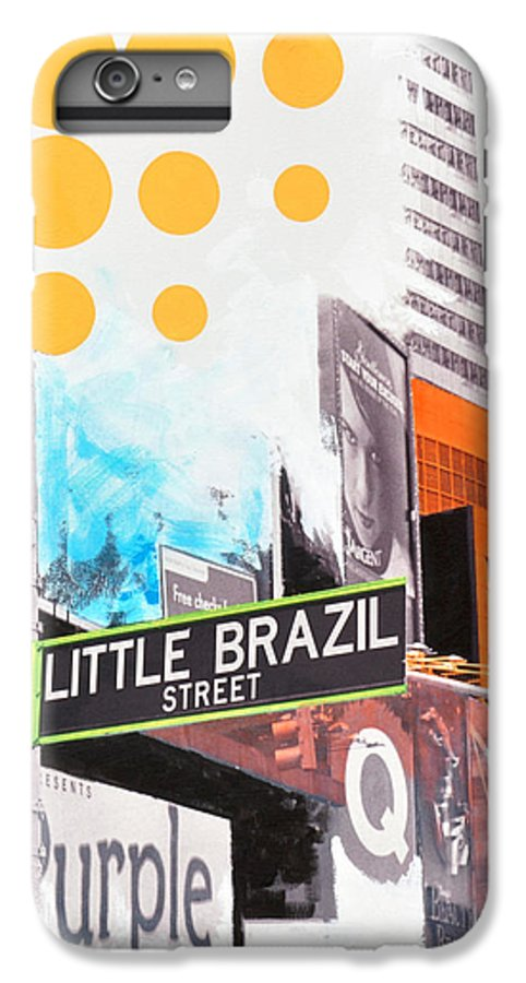 Ny IPhone 6 Plus Case featuring the painting Times Square Little Brazil by Jean Pierre Rousselet