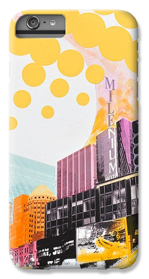 Ny IPhone 6 Plus Case featuring the painting Times Square Milenium Hotel by Jean Pierre Rousselet
