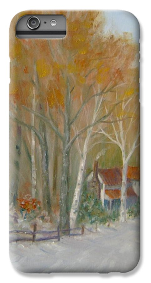 Country Road; House; Snow IPhone 6 Plus Case featuring the painting To Grandma's House by Ben Kiger
