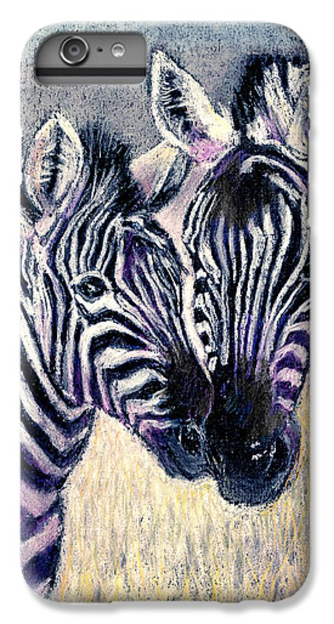 Zebras IPhone 6 Plus Case featuring the pastel Together by Arline Wagner