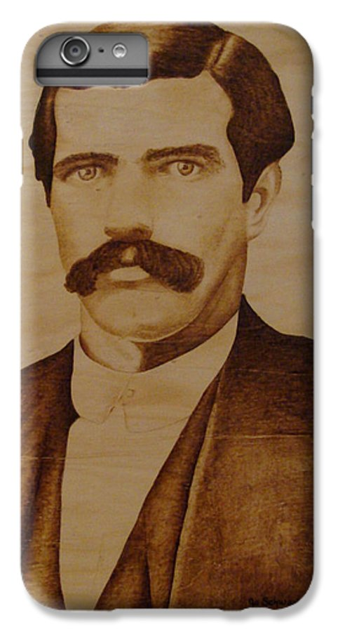 Pyrography; Woodburning; Sepia; Old West; Sheriff; IPhone 6 Plus Case featuring the pyrography Tom Smith by Jo Schwartz