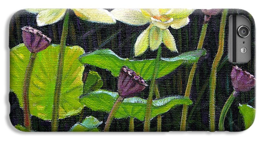 Lotus IPhone 6 Plus Case featuring the painting Touching Lotus Blooms by John Lautermilch