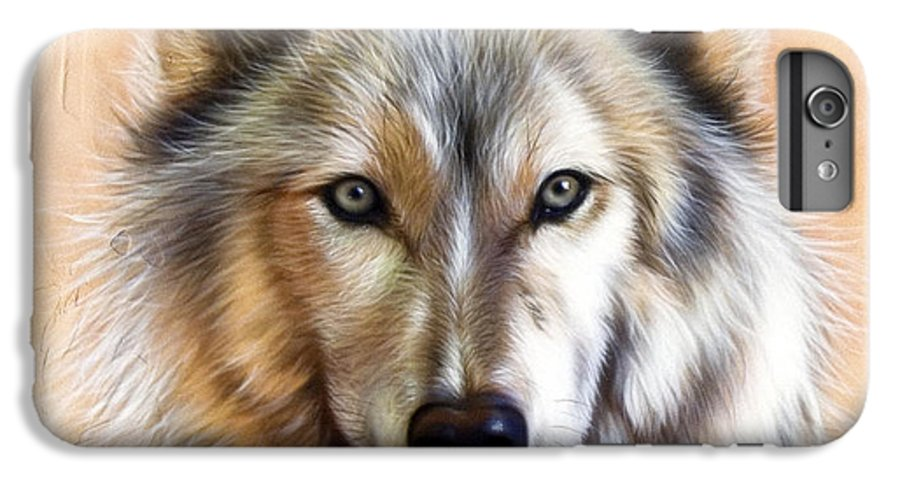Wolves IPhone 6 Plus Case featuring the painting Trace Two by Sandi Baker
