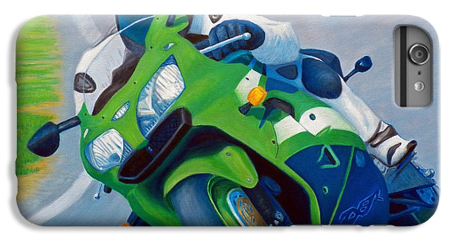 Motorcycle IPhone 6 Plus Case featuring the painting Track Day - Kawasaki Zx9 by Brian Commerford