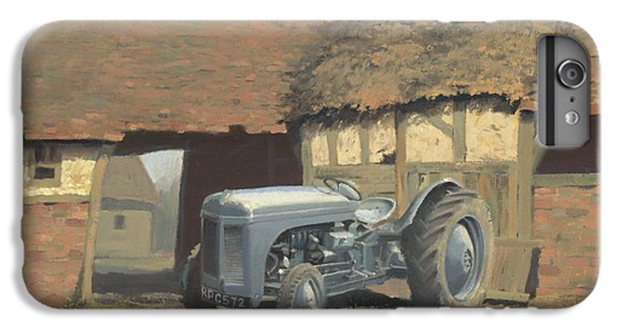 Tractor IPhone 6 Plus Case featuring the painting Tractor And Barn by Richard Picton