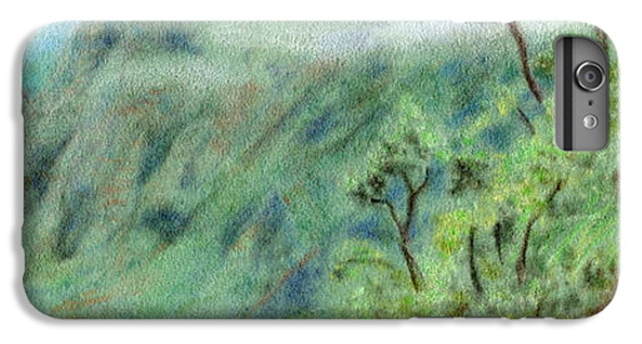 Rainbow Colors Pastel IPhone 6 Plus Case featuring the painting Trail's End by Kenneth Grzesik