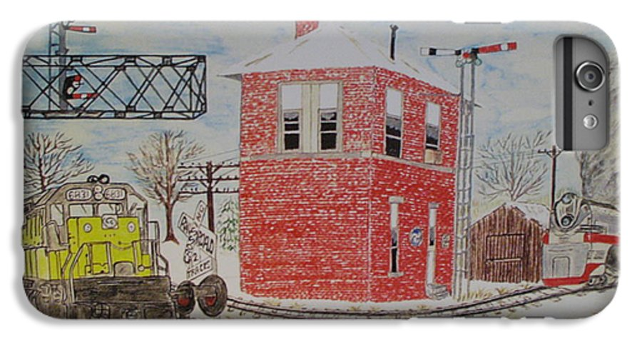 Train IPhone 6 Plus Case featuring the painting Trains In Motion by Kathy Marrs Chandler