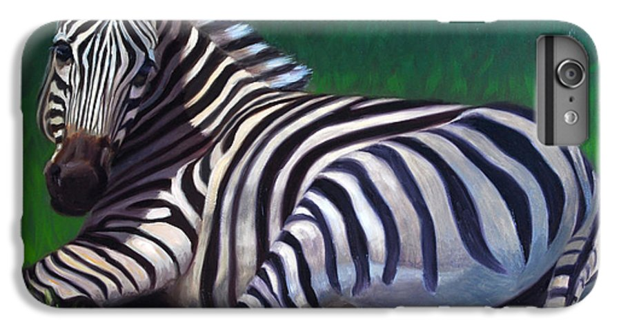 Zebra IPhone 6 Plus Case featuring the painting Tranquility by Greg Neal