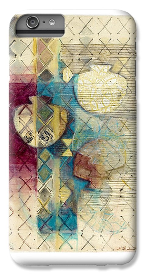 Mixed-media IPhone 6 Plus Case featuring the painting Trans Xs No 1 by Kerryn Madsen- Pietsch