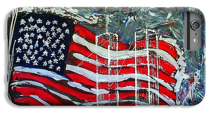 American Flag IPhone 6 Plus Case featuring the mixed media Tribute by J R Seymour