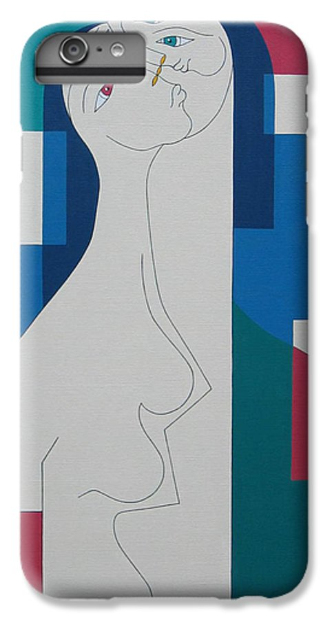 Modern Women Bleu Green Red Humor IPhone 6 Plus Case featuring the painting Trio by Hildegarde Handsaeme